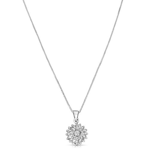 Diamond Jasmine Flower Solitaire Pendant