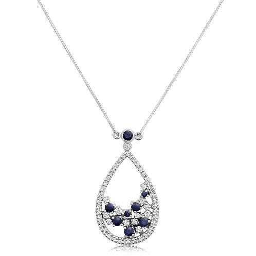 Drop Diamond Pendant With Sapphire