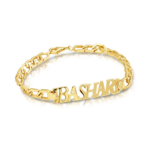 Block Chain Custom Name Cut Bracelet