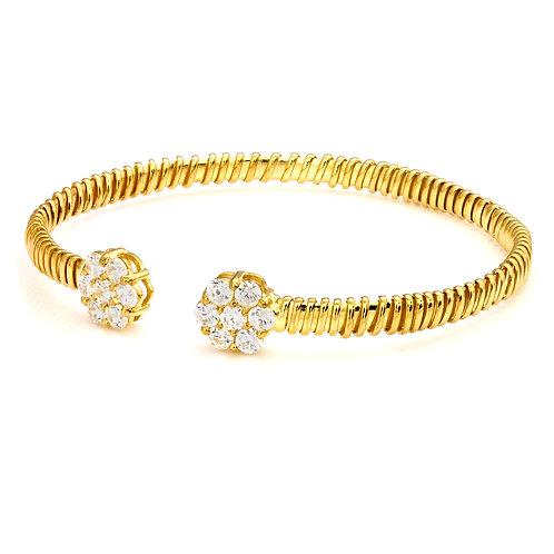 CZ Flowers Twined Gold Bracelet