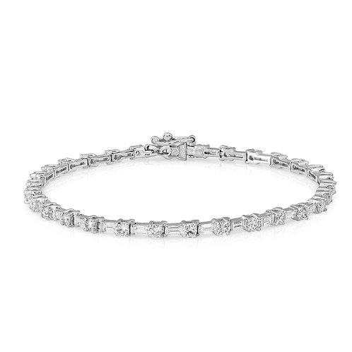 Tennis Bracelet With Baguette & Round Diamonds