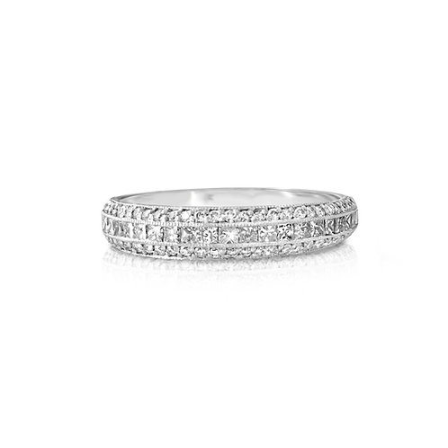Princess Inlaid Diamond Wedding Ring