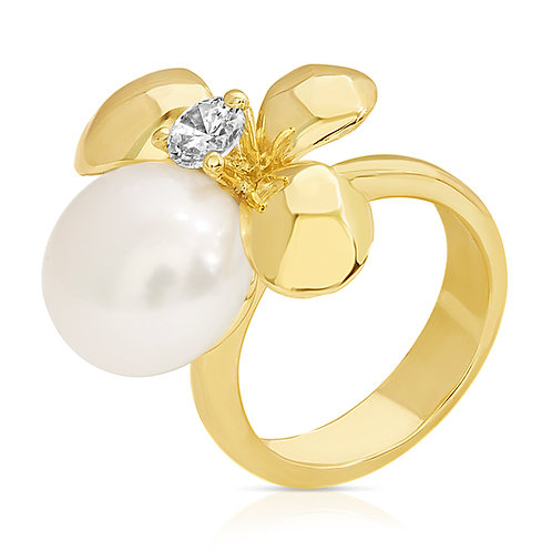 Golden Flower With Pearl & CZ Ring