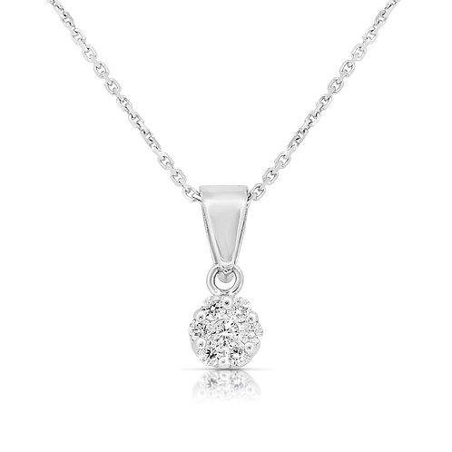 Pave Blossom Solitaire Diamond Pendant