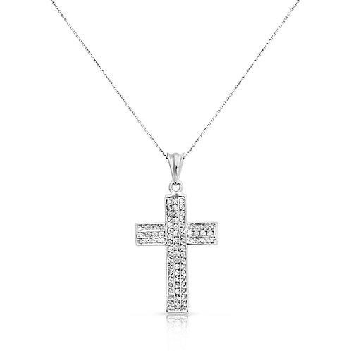 Bold Modern Wavy Diamond Cross Pendant