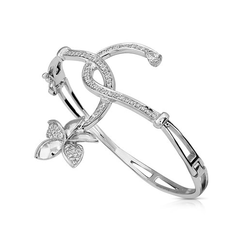 Modern Bridal Diamond Leaf Bracelet