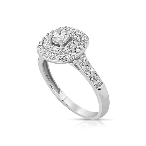 Prominent Diamond Inlaid Engagement Ring