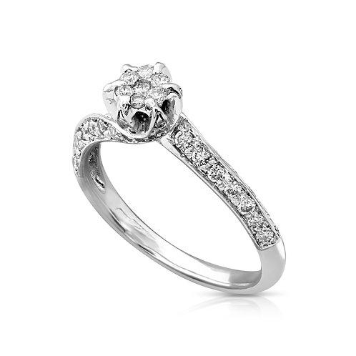 Elegant Spiral Diamond Flower Ring