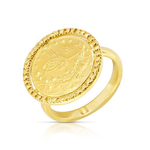 21K Golden Coin Ring