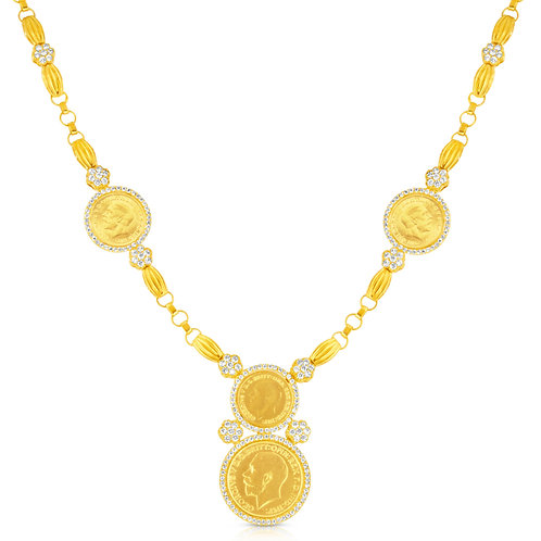 Golden Coins With CZ Flowers Necklace