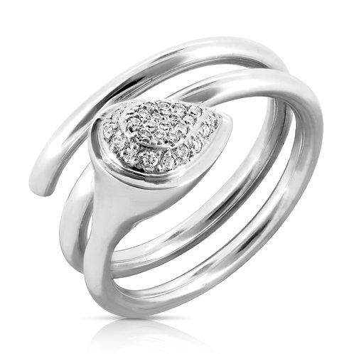 Diamond Inlaid Pear Screw Ring