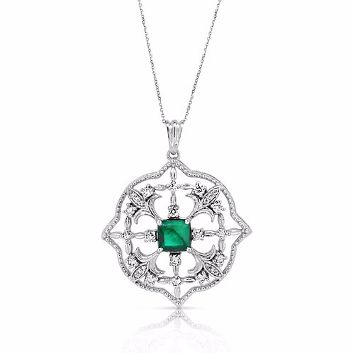 Large Decorated Pendant Green Emerald