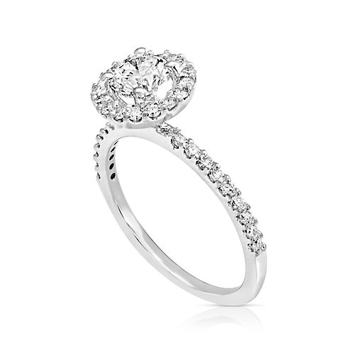 Thin Diamond Collar Engagement Ring