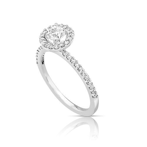 Thin Diamond Collar Engagement Ring
