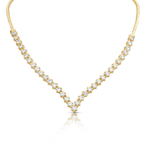 Prominent V Shape Diamond Necklace
