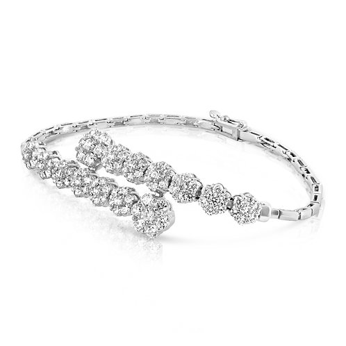 Diamond Bridal Flowers Bracelet