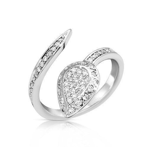 Spiral Diamond Drop Engagement Ring