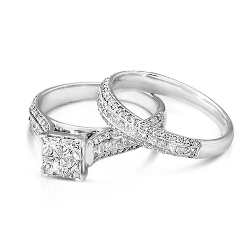 Princess Inlaid Diamond Engagement Set