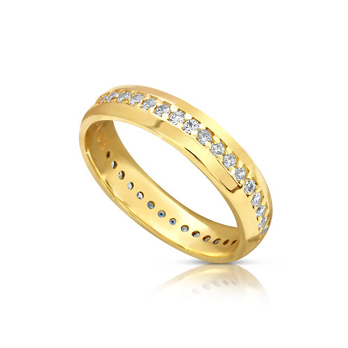 Gold Wedding Ring WIth Zircon
