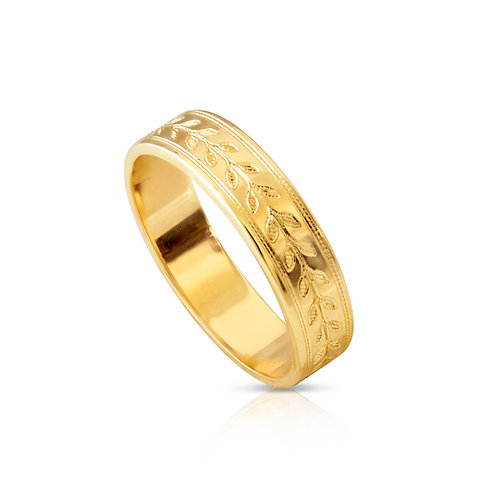 Engraved Wheat Straw Wedding Ring