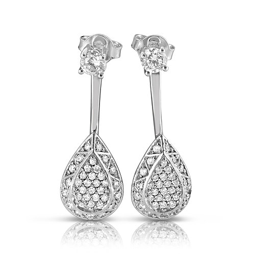 Pear Diamond Inlaid Earrings