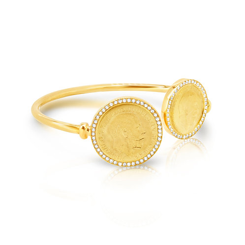 Golden Coin & 1/2 Surrounded with CZ Bracelet