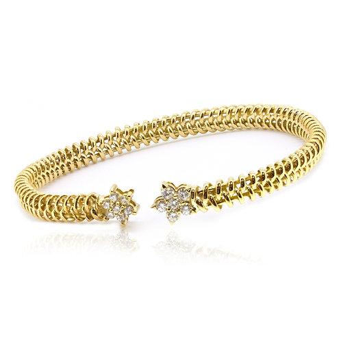 14K Yellow Gold Handmade Royal Star Shank Bangle