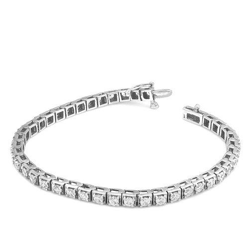 Soft Squarish Diamond Tennis Bracelet