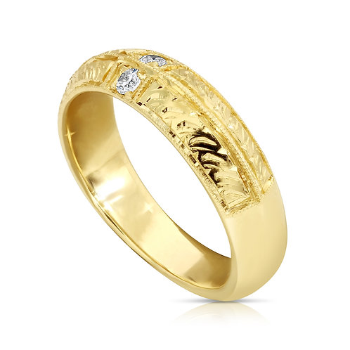 Decorated Wedding Ring With CZ