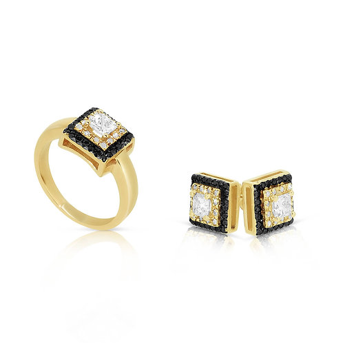 1.87CT 14KT Solid Yellow Gold Diamond Engagement Set
