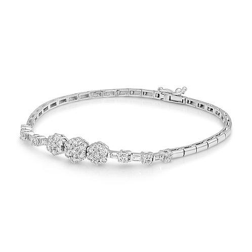Neat Flowery Diamond Bridal Bracelet