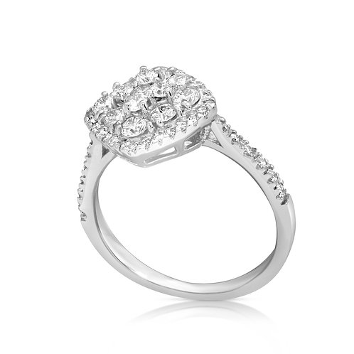 Square Head Diamond Engagement Ring