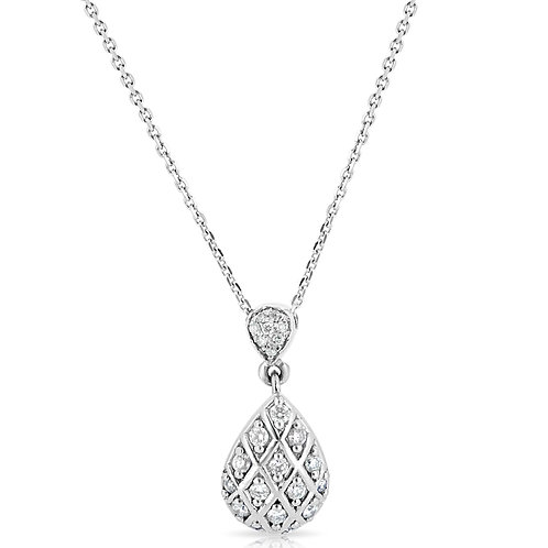 Diamond Inlaid Pear Pendant