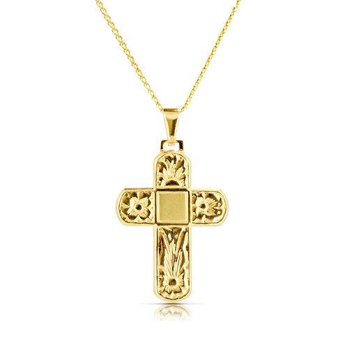 Gold Cross Pendant Flat Bold