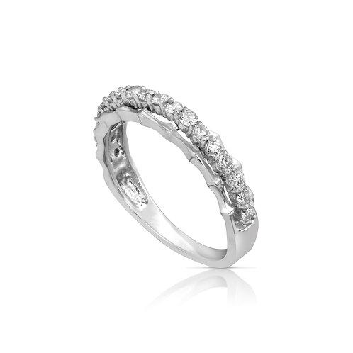 Thin Vaulted Diamond Wedding Ring