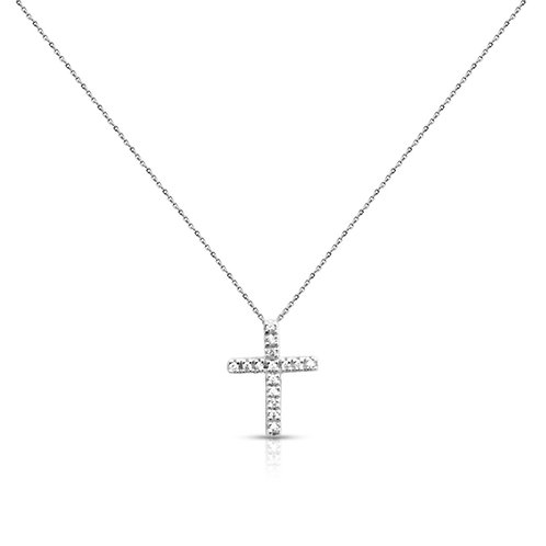 Soft Simple Diamond Cross Pendant