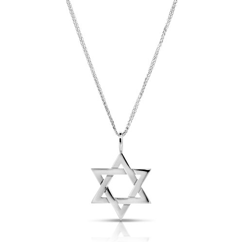 White Golden Star of David Pendant