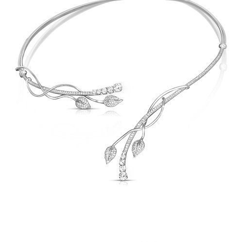 White Gold Leaves & Diamond Drops Necklace