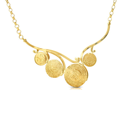 21K Oriental Traditional Coins Necklace