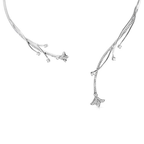 Diamond Decorated Branches Bridal Necklace