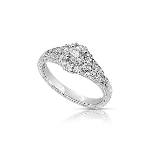 Diamond Decorated Engagement Ring