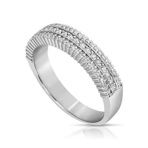 3 Rows Diamond Inlaid Wedding Band
