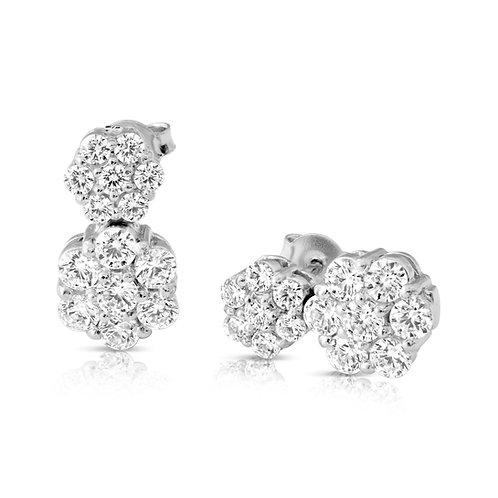 Diamond Dual Flower Earrings
