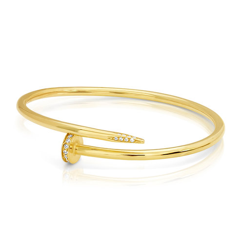 14K Golden Nail With CZ Bracelet