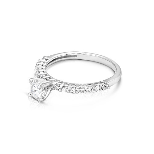 Elegant Thin Diamond Engagement Ring