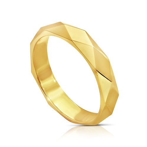 Diamond Cut Pattern Wedding Ring