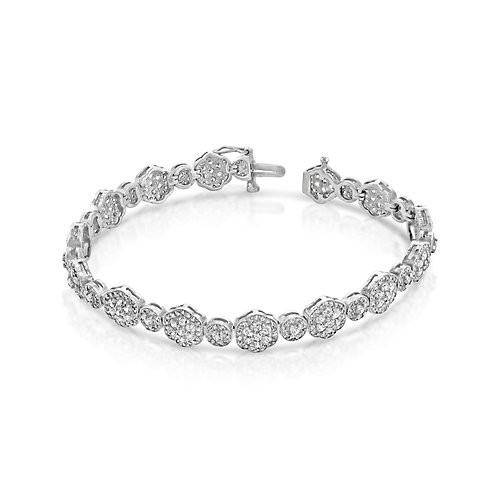 Diamond Packed Flowers Tennis Bracelet