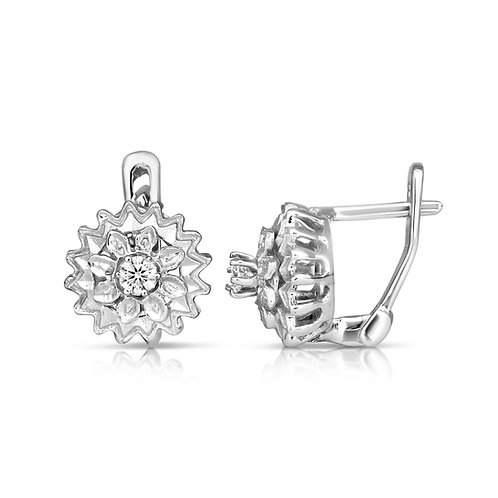 Diamond Jasmine Flower  Earrings
