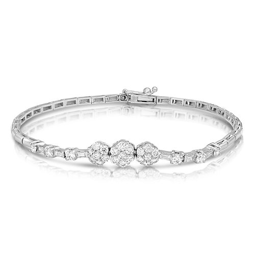 Baguette Diamonds & Flowers Bracelet