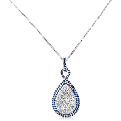 Sapphire & Diamond Drop Pendant